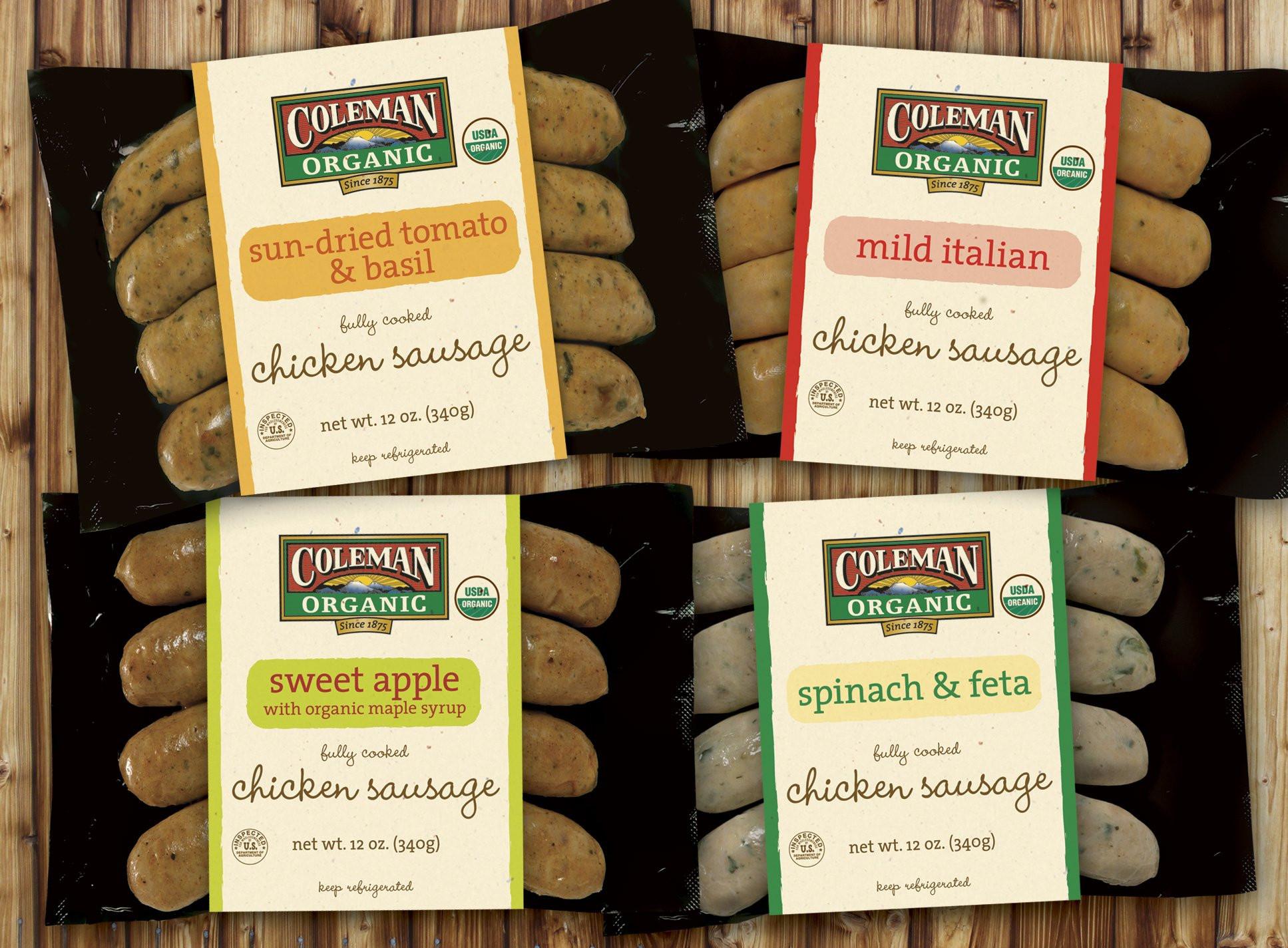Bilinski'S Organic Chicken Sausage  Coleman Organic sausage