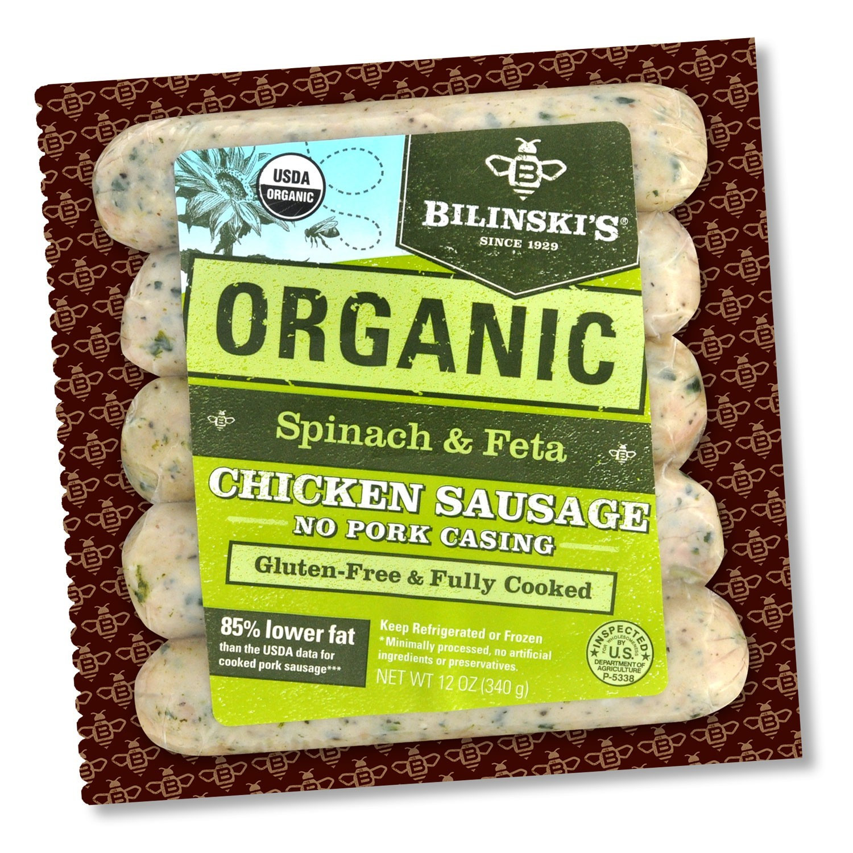 Bilinski'S Organic Chicken Sausage  Bilinski s Organic Spinach And Feta Chicken Sausage 0 75