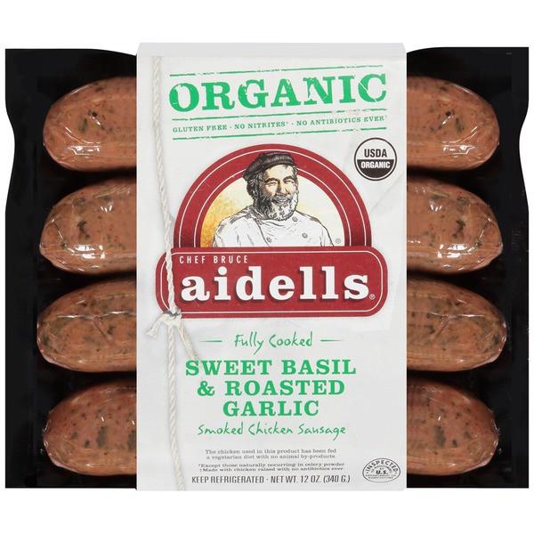 Bilinski'S Organic Chicken Sausage  Aidells Organic Sweet Basil & Roasted Garlic Smoked