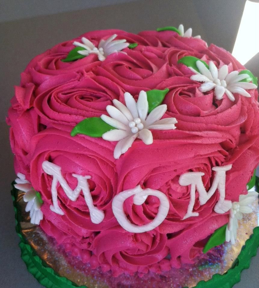 Birthday Cake For Mother  Pink Rose Mother s Day Cake