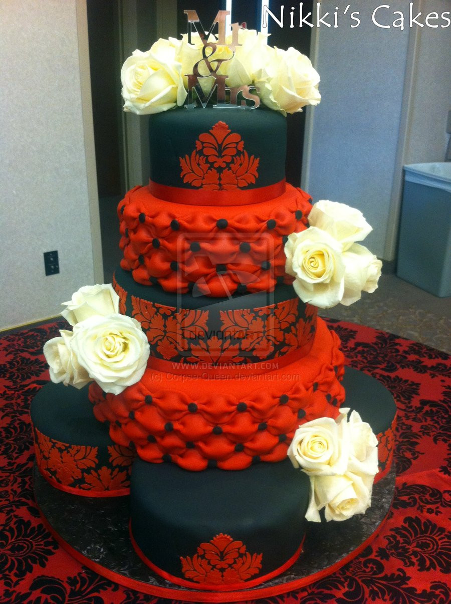Black And Red Wedding Cakes  Red and black Damask Wedding Cake by Corpse Queen on