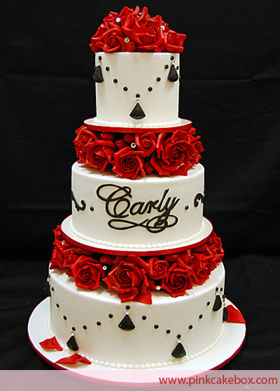 Black And Red Wedding Cakes  e Stop Wedding Wedding Cake With Red Roses