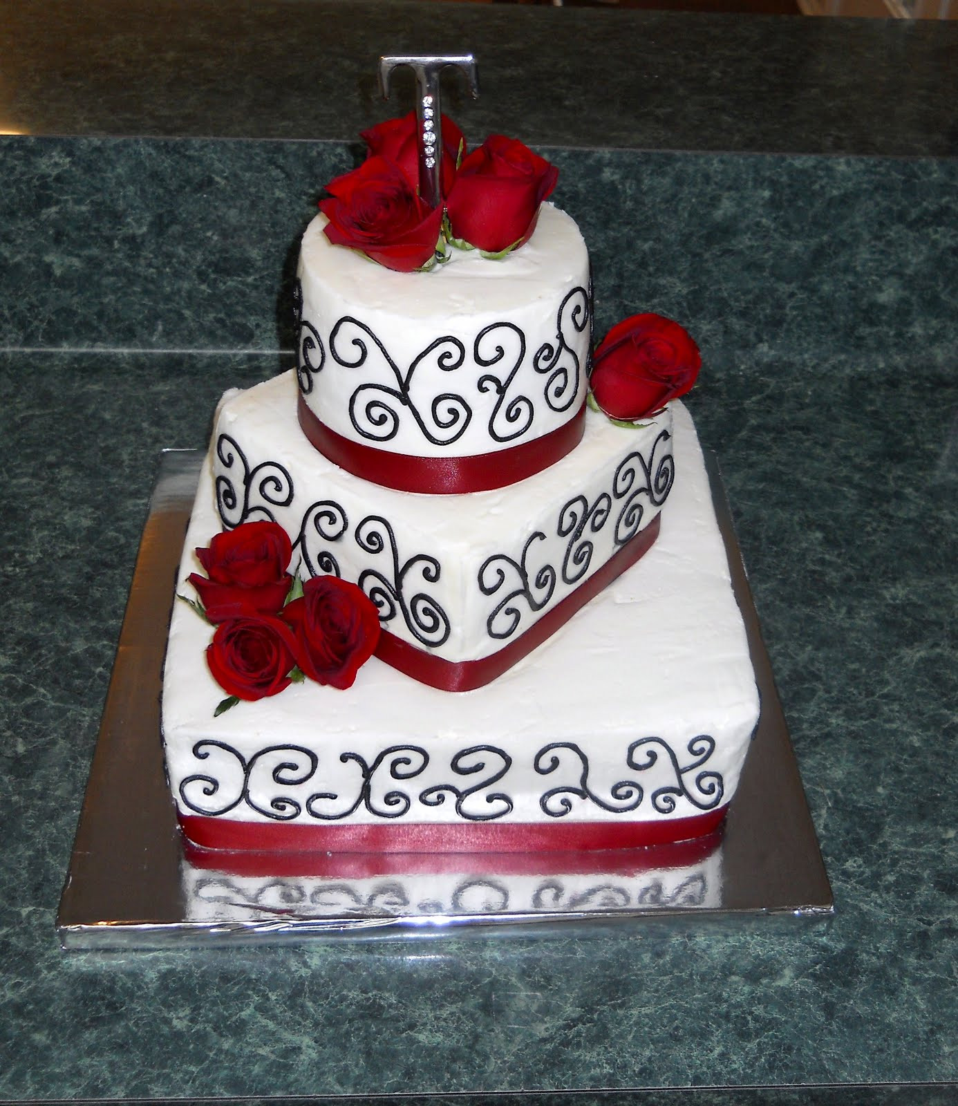 Black And Red Wedding Cakes  The Happy Caker White Black and Red Wedding Cake