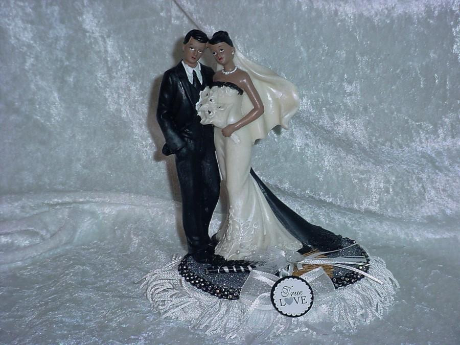 Black Groom White Bride Wedding Cake Toppers  African American Couple Ethnic Mr And Mrs Black Bride