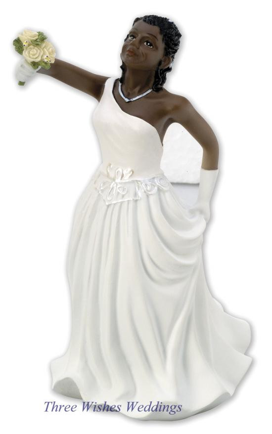 Black Groom White Bride Wedding Cake Toppers  Three Wishes Weddings Home Cake Toppers