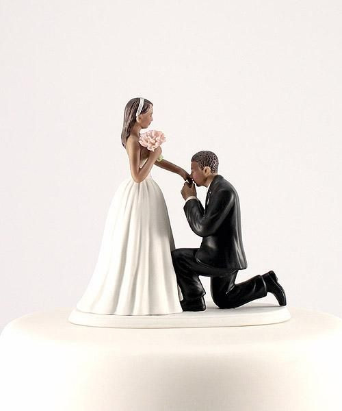 Black Groom White Bride Wedding Cake Toppers  1000 images about Wedding Cake Toppers on Pinterest