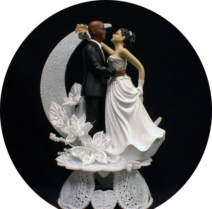 Black Groom White Bride Wedding Cake Toppers  17 Best images about Wedding cake toppers on Pinterest