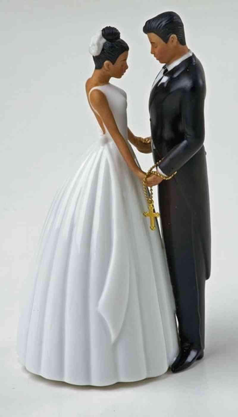 Black Groom White Bride Wedding Cake Toppers  Bride And Groom Cake