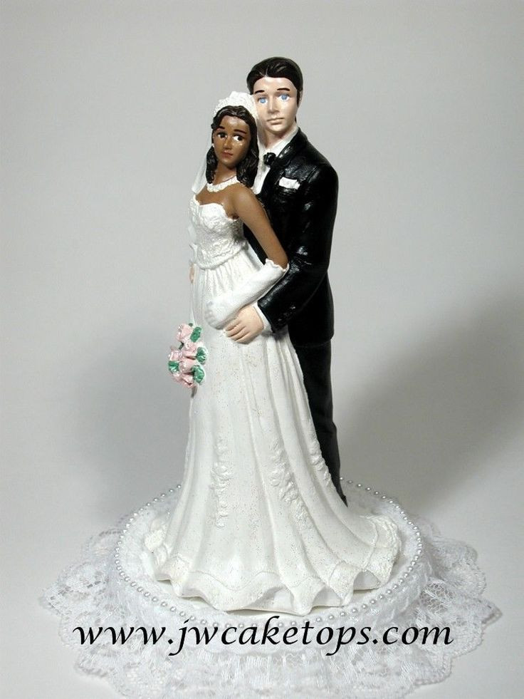 Black Groom White Bride Wedding Cake Toppers  Details about African American Bride with Caucasian Groom