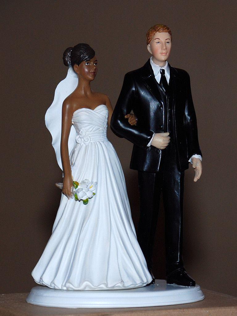 Black Groom White Bride Wedding Cake Toppers  African American Black Bride White Groom Interracial