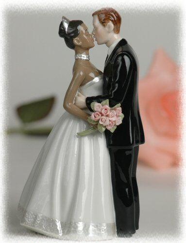 Black Groom White Bride Wedding Cake Toppers  Porcelain Interracial Bi racial Wedding Cake Topper Ethnic