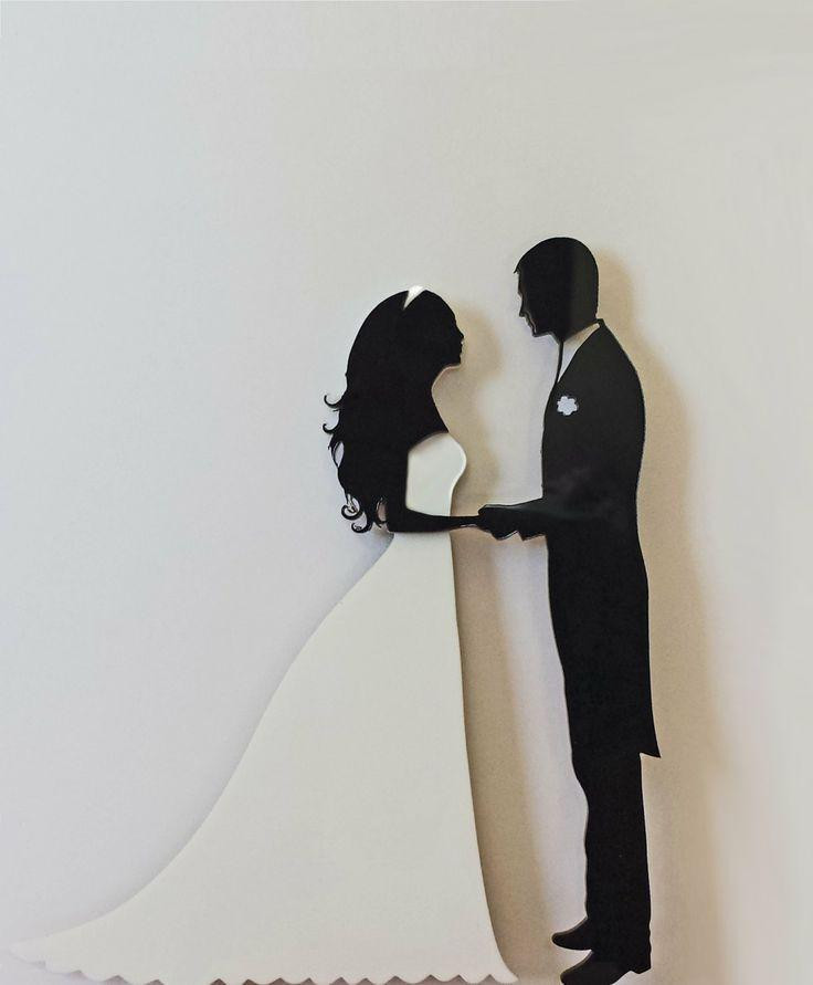 Black Groom White Bride Wedding Cake Toppers  Wedding Cake Topper Silhouette Groom And Bride Black And