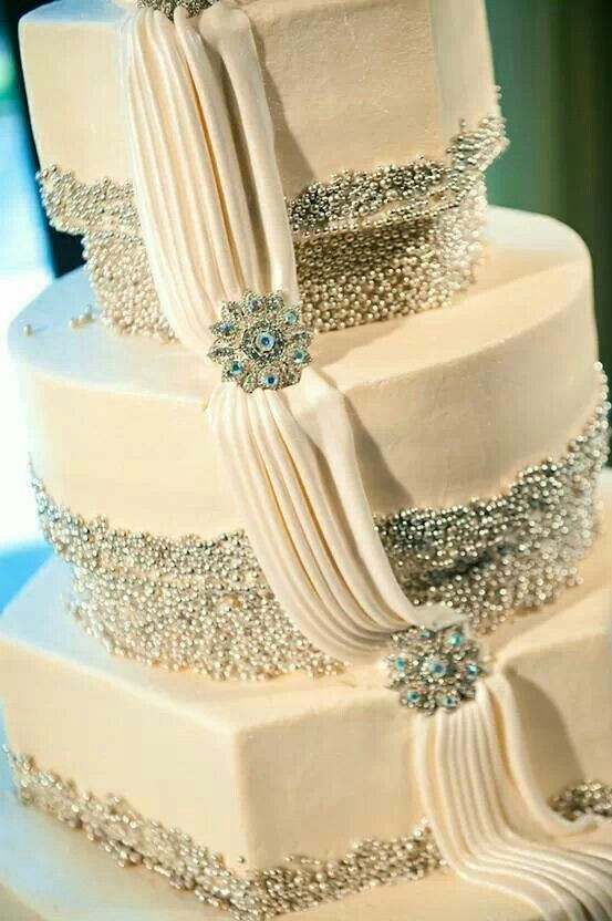 Blinged Out Wedding Cakes  Jeweled wedding cake hours of labor in the dragees