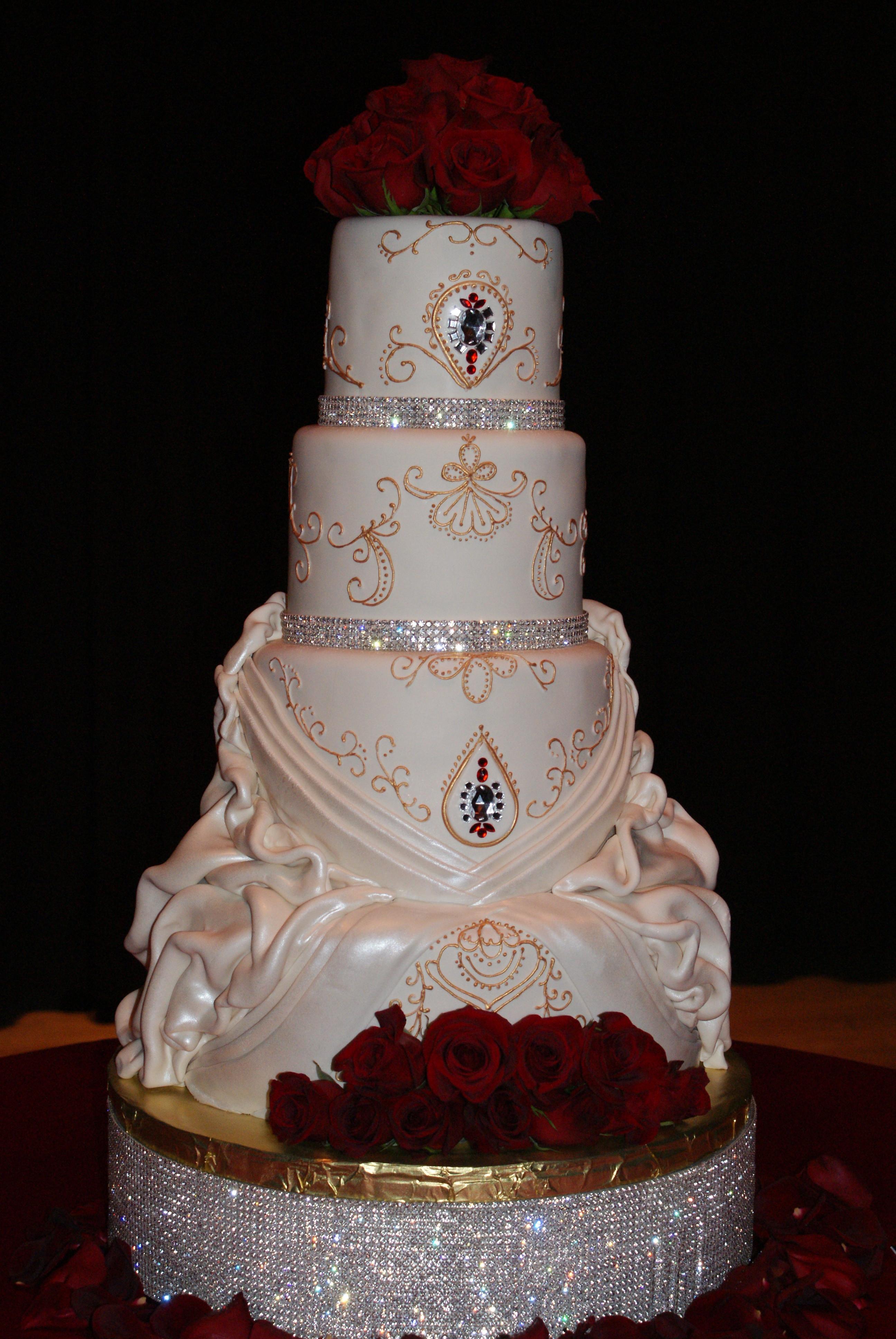 Blinged Out Wedding Cakes  Damask