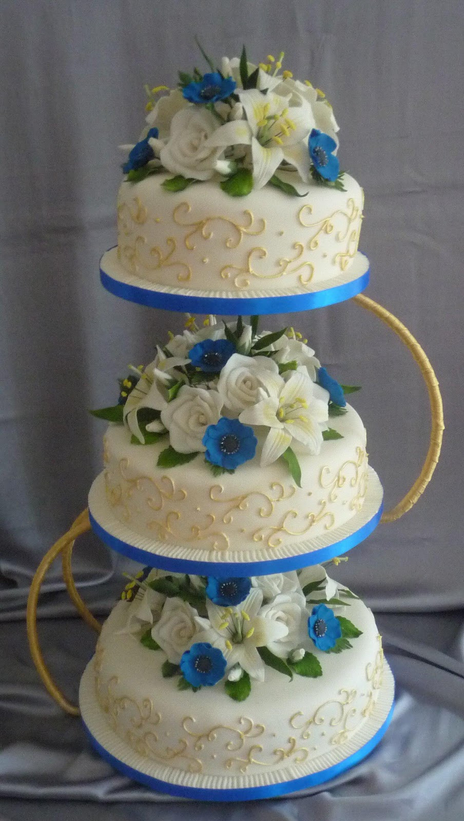 Blue And Gold Wedding Cakes  wedding cakes by franziska blue and gold wedding cake design