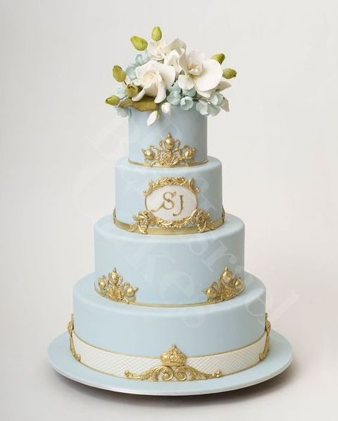 Blue And Gold Wedding Cakes  Delicate Dusty Blue And Gold Wedding Ideas