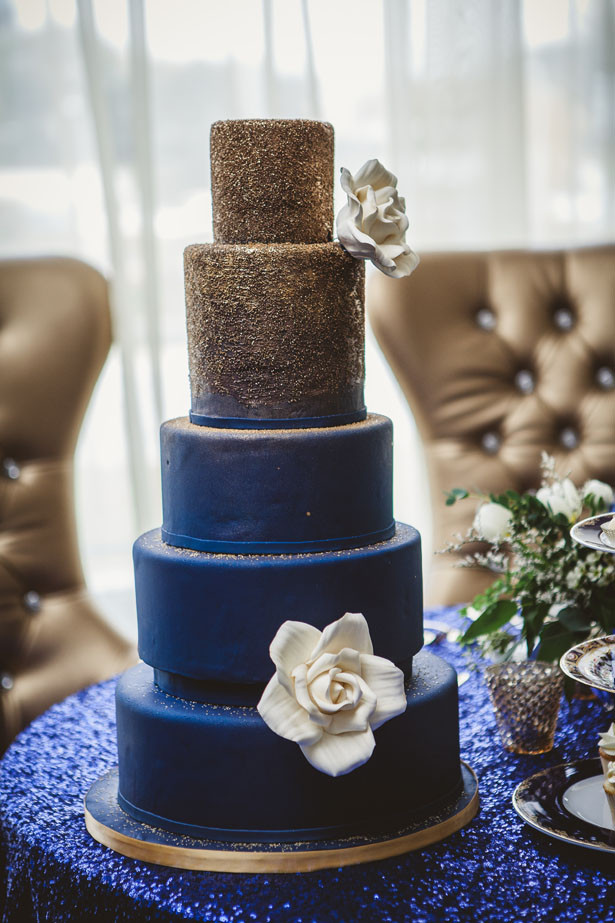 Blue And Gold Wedding Cakes  Navy Blue and Gold Wedding Cake Belle The Magazine