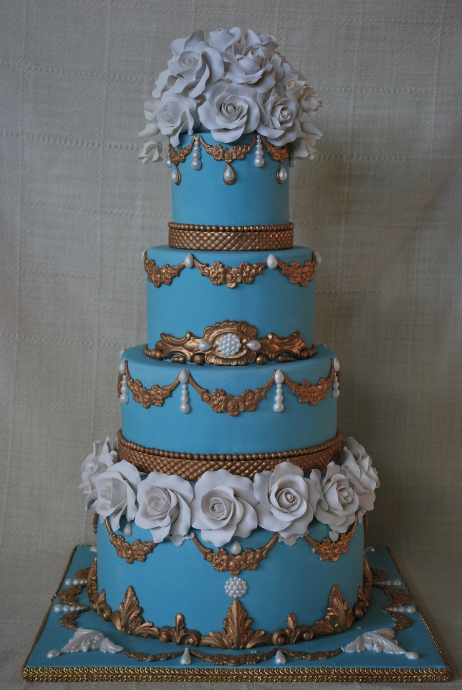 Blue And Gold Wedding Cakes  Blue And Gold Wedding Cake CakeCentral