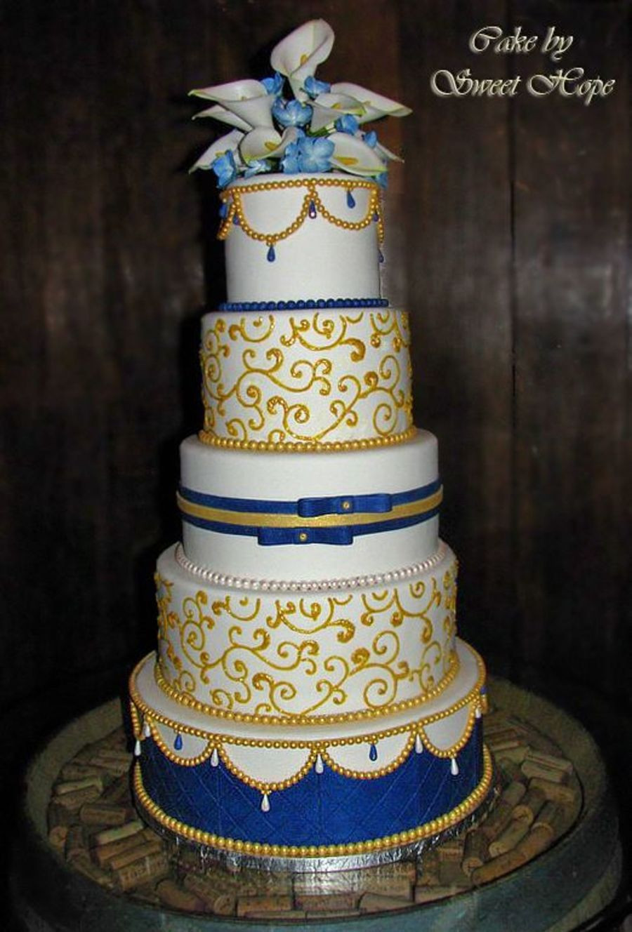 Blue And Gold Wedding Cakes  White Blue And Gold Wedding Cake CakeCentral