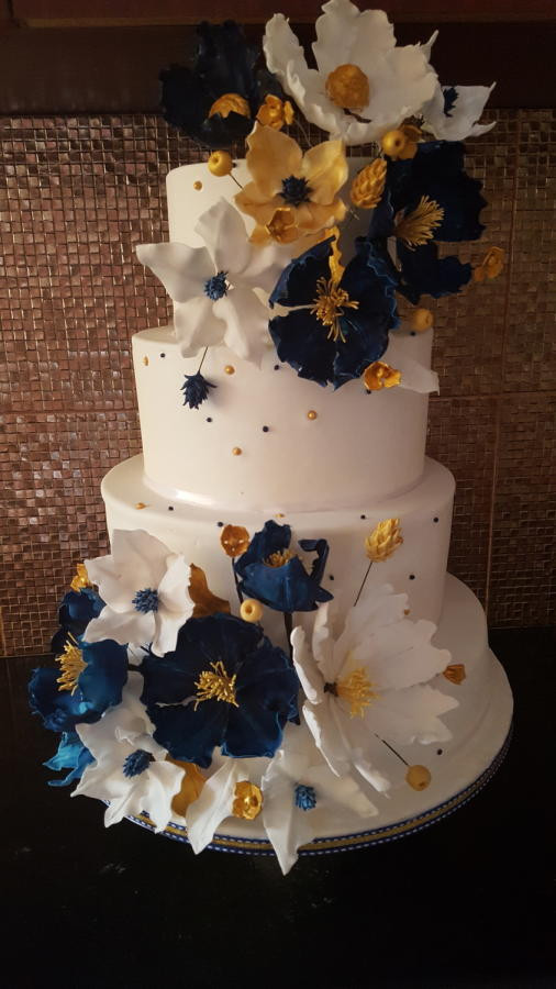 Blue And Gold Wedding Cakes  Navy blue and gold wedding cake cake by Santis CakesDecor