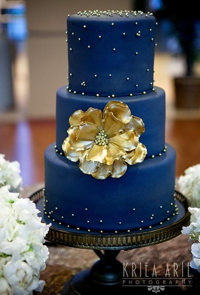Blue And Gold Wedding Cakes  Two Tier Blue Ombre Wedding Cake A Watercolor Wedding