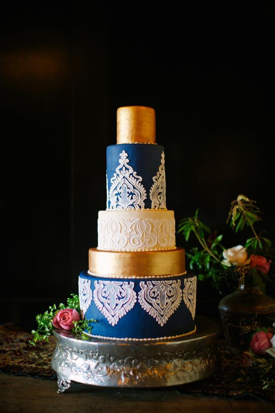 Blue And Gold Wedding Cakes  Gold Wedding Cake