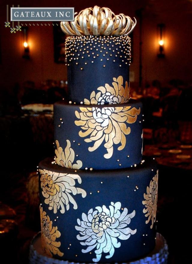 Blue And Gold Wedding Cakes  Navy And Gold Wedding Cake Gateaux Inc Weddbook
