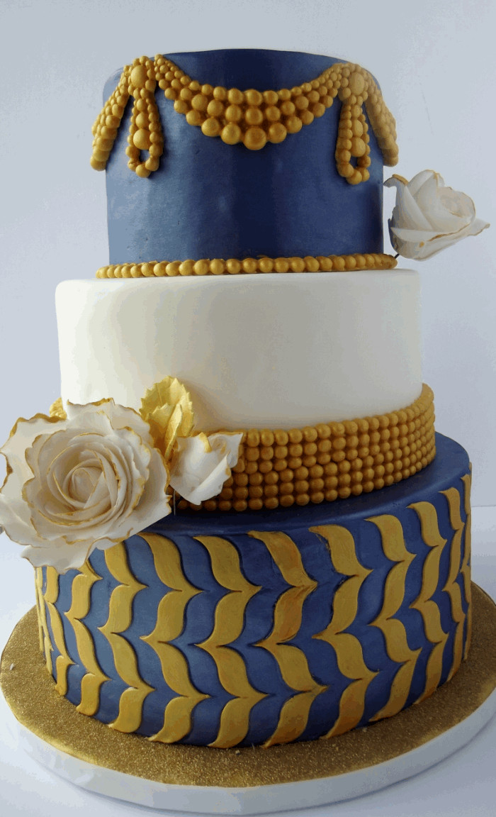 Blue And Gold Wedding Cakes  Blue and Gold Wedding Cake Marvelous Molds
