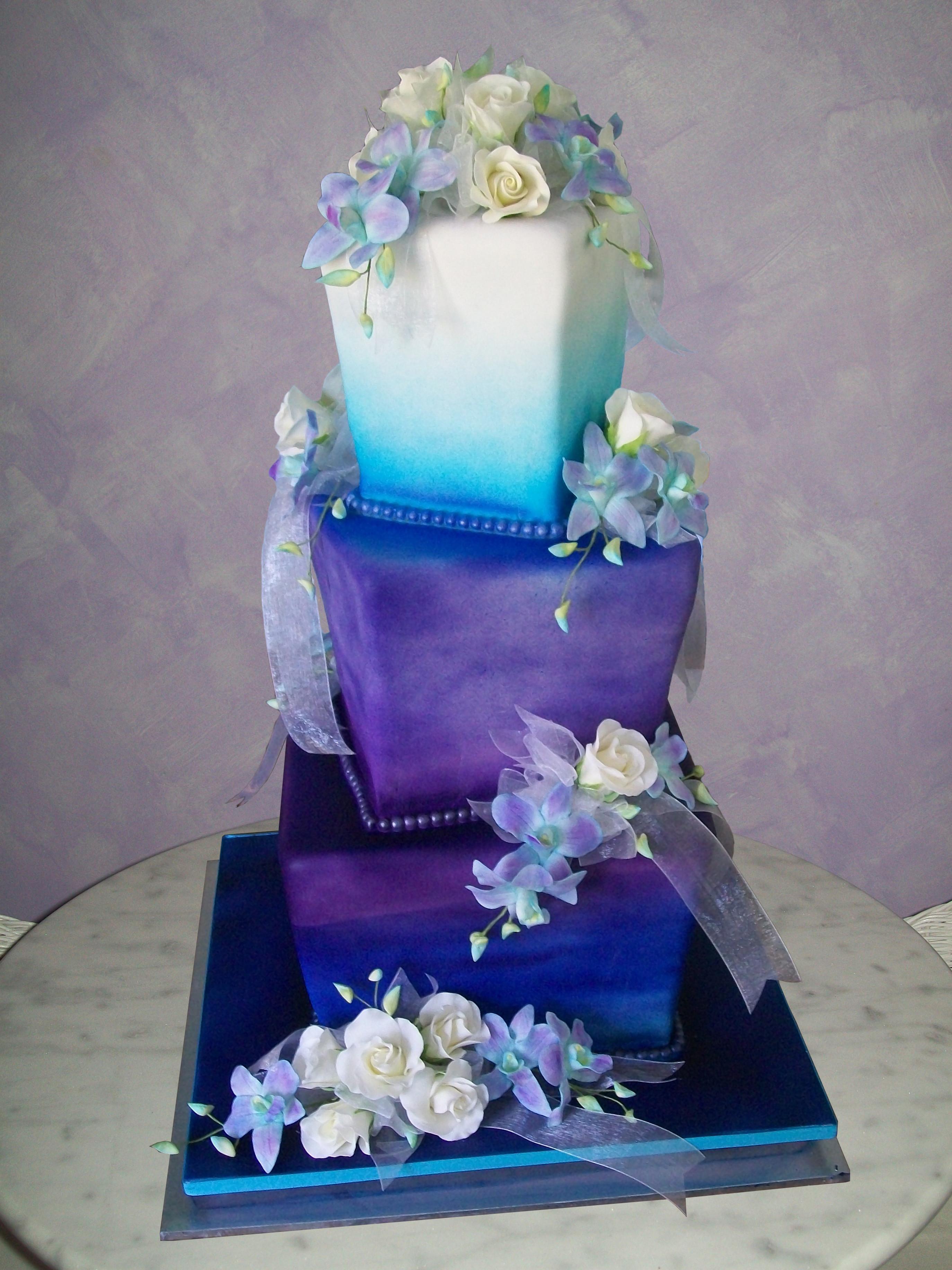 Blue And Purple Wedding Cakes  Purple and blue wedding cake