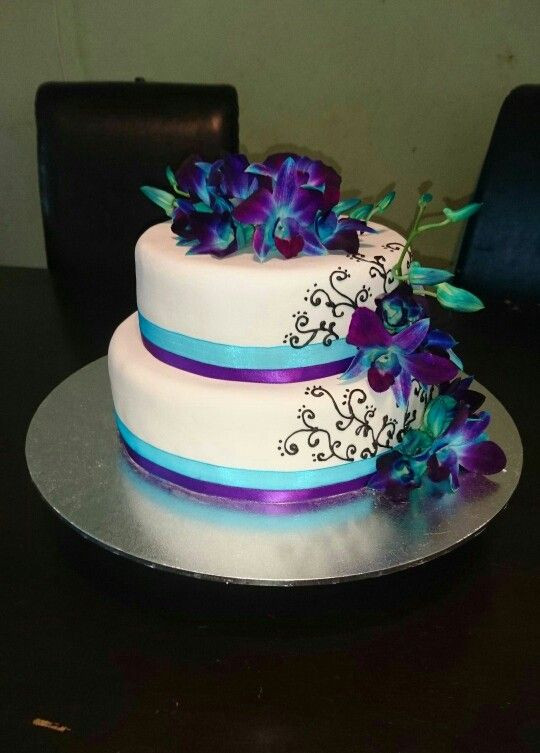 Blue And Purple Wedding Cakes  Blue and purple orchids wedding cake