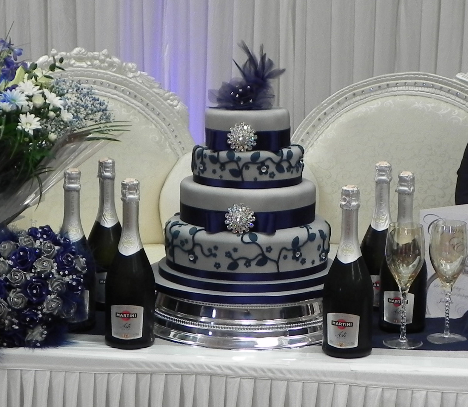 Blue And Silver Wedding Cakes  Cake by Lisa Price Silver and Blue wedding cake