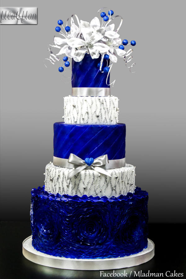 Blue And Silver Wedding Cakes  Royal Blue Silver Wedding Cake cake by MLADMAN