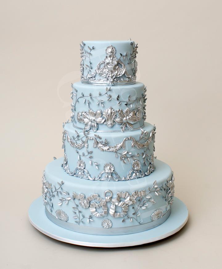 Blue And Silver Wedding Cakes  wedding cake toppers Blue Wedding Cake Toppers