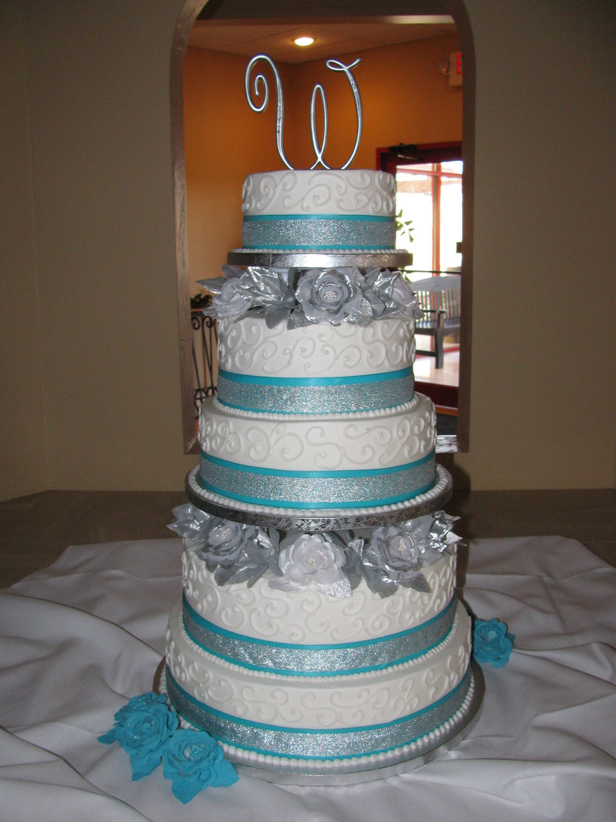 Blue And Silver Wedding Cakes  Tiffany Blue And Silver Wedding Cake CakeCentral
