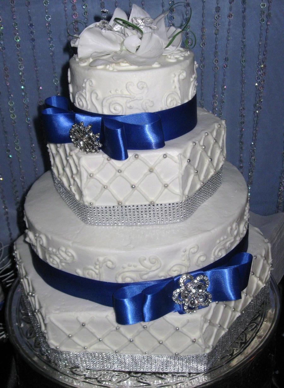 Blue And Silver Wedding Cakes  Hexagon Royal Blue Wedding Cake CakeCentral
