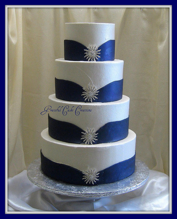 Blue And White Wedding Cakes  White and Blue Wedding Cake with Silver Jewelry Foter