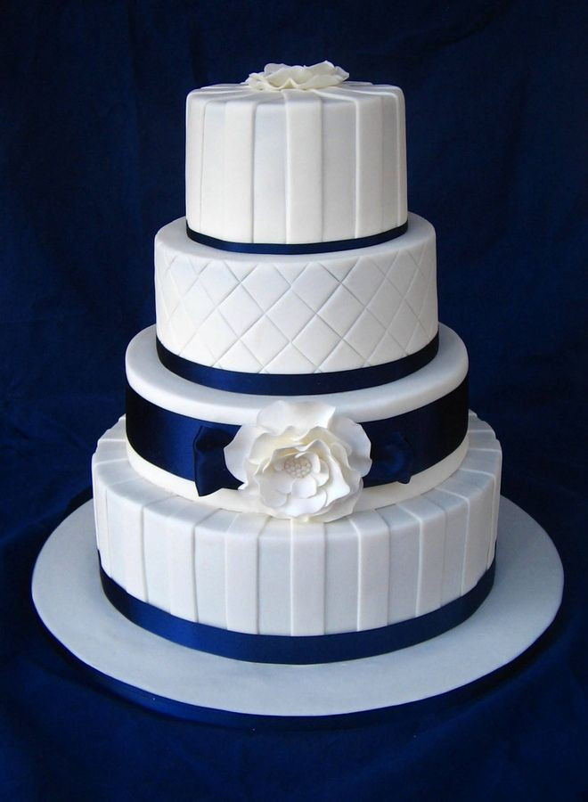 Blue And White Wedding Cakes  Blue and Yellow Wedding Cakes