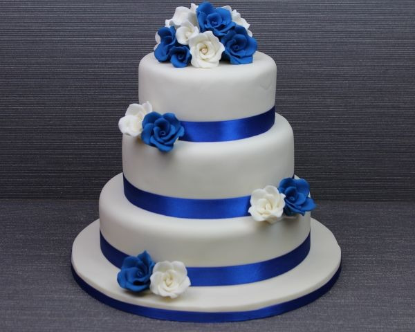 Blue And White Wedding Cakes  87 best Cakes Multi tier Royal Blue wedding images on