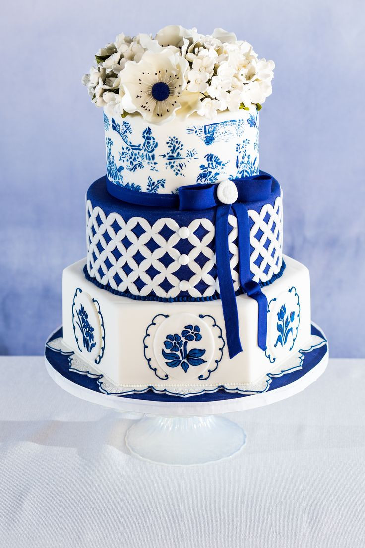 Blue And White Wedding Cakes  Blue & White Spring Table Inspiration Ombre Napkin DIY