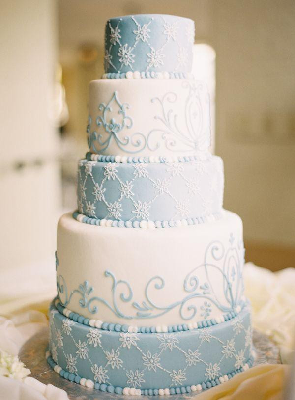 Blue And White Wedding Cakes  Five Tier Round Blue And White Wedding Cake