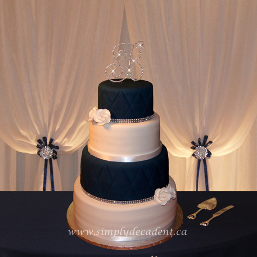 Blue And White Wedding Cakes  4 Tier Navy Blue white Fondant Wedding Cake With Quilting