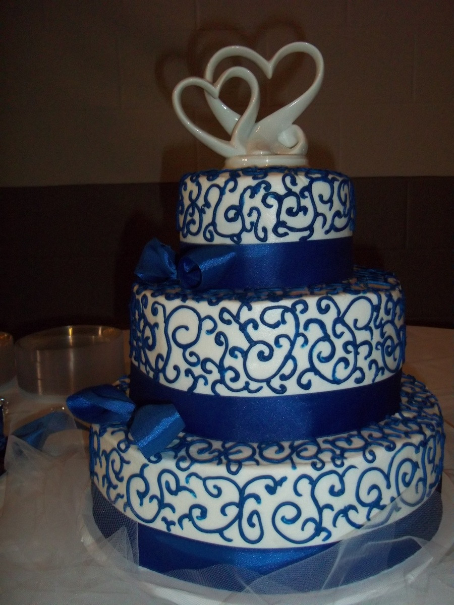 Blue And White Wedding Cakes  Royal Blue And White Wedding Cake CakeCentral