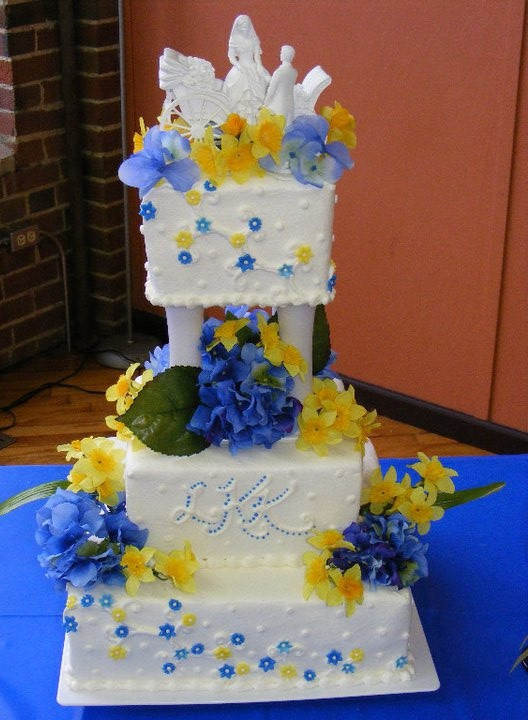 Blue And Yellow Wedding Cakes  Blue & Yellow wedding cake I made My Cakes