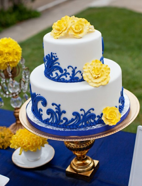 Blue And Yellow Wedding Cakes  Wedding Cakes Blue Yellow and White