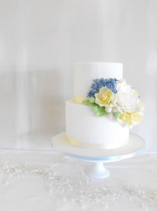 Blue And Yellow Wedding Cakes  Blue and yellow wedding cake Cake by Esther Scott