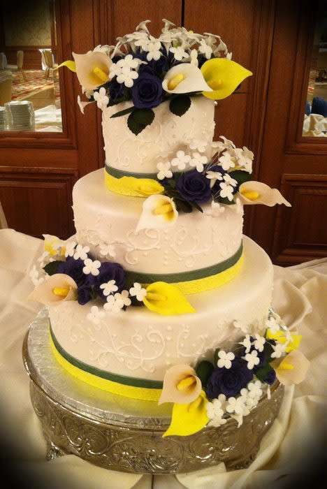 Blue And Yellow Wedding Cakes  Green yellow blue wedding cake Cake by Skmaestas