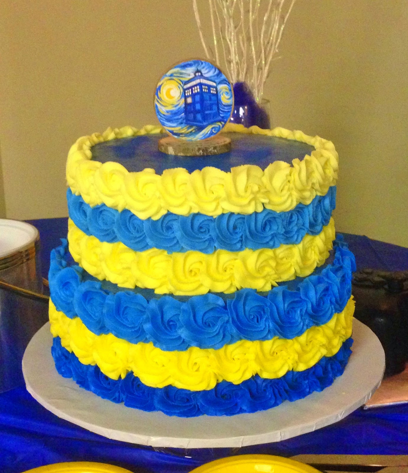 "Blue And Yellow Wedding Cakes  Cakes by Mindy Blue and Yellow Rosette Wedding Cake 10"" & 12"""