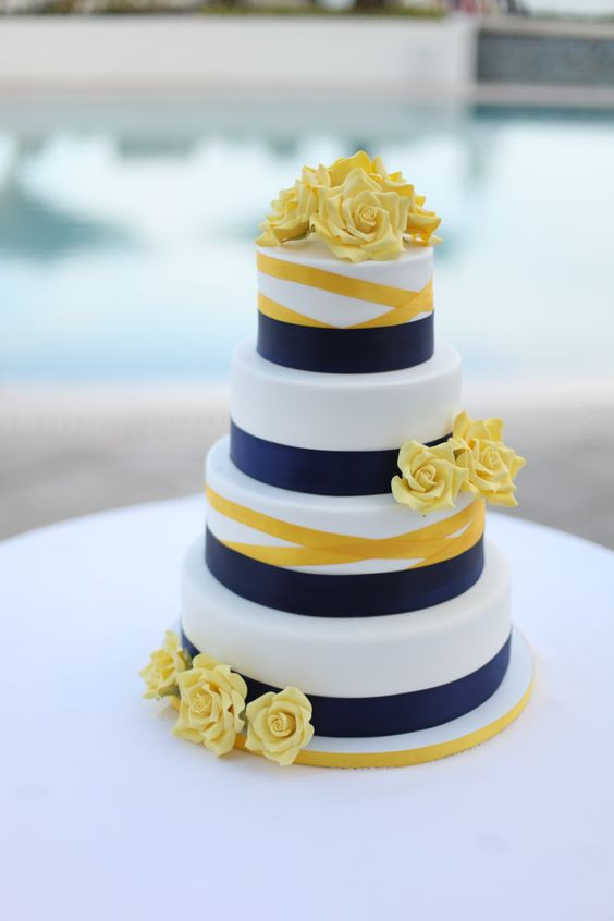 Blue And Yellow Wedding Cakes  Autumnal Colour Schemes – Yellow