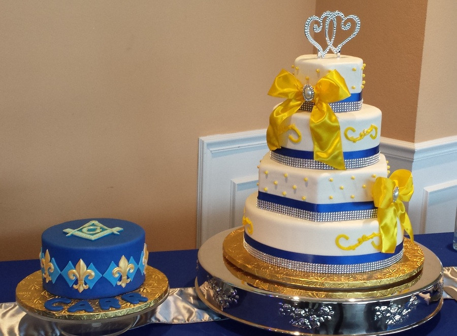Blue And Yellow Wedding Cakes  Royal Blue Yellow And White Wedding Cake With Grooms Cake