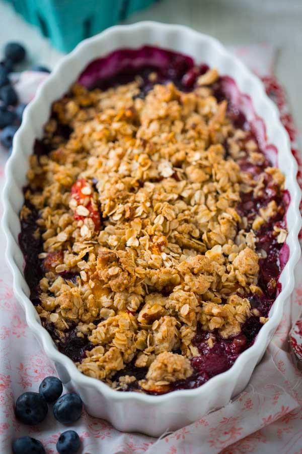 Blueberry Dessert Healthy  gluten free maple peach blueberry crisp Healthy Seasonal